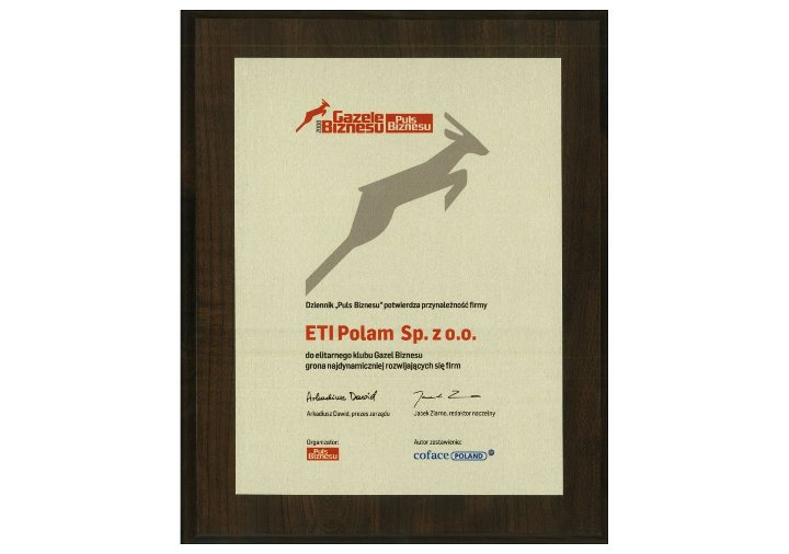 Prestiżowa Nagroda dla ETI Polam - Gazele �D;�A;�D;�A;Biznesu 2009